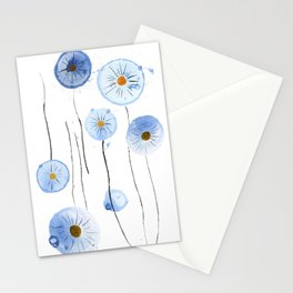 blue abstract dandelion 2 Stationery Cards
