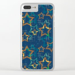 Star . Gold stars on a blue background . Clear iPhone Case
