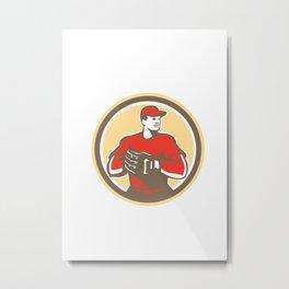 Baseball Catcher Gloves Circle Retro Metal Print