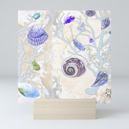 Shells - Yellow Purple Green - Casart Sea Life Treasures Collection Mini Art Print