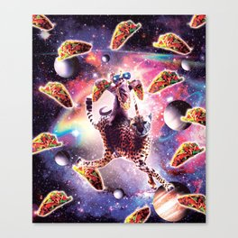 Thug Space Cat On Cheetah Unicorn With Taco Canvas Print