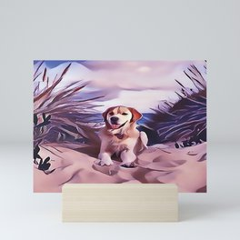 Yellow Labrador Retriever at the Beach Mini Art Print