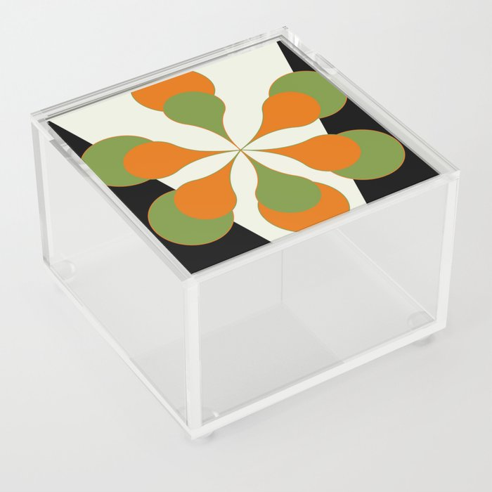 Mid-Century Modern Art 1.4 - Green & Orange Flower Acrylic Box