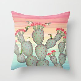 ruby throated hummingbirds & prickly pear cactus Throw Pillow