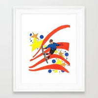 snowboard Framed Art Prints featuring Snowboard Illustration by Crooked Walker