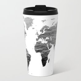 World Map - Ocean Texture - Black and White Travel Mug