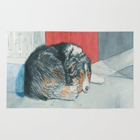 border collie Area & Throw Rugs featuring Sleeping Boder Collie by Yvonne Carter