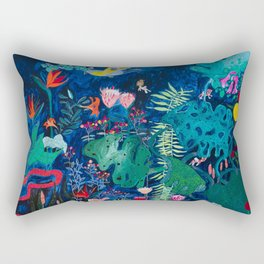 Brightly Rainbow Tropical Jungle Mural with Birds and Tiny Big Cats Rectangular Pillow