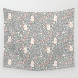 Sleeping Fox - grey pattern design Wall Tapestry