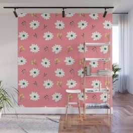 Modern hand painted pink white yellow floral illustration Wall Mural