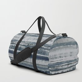 Expressive Indigo Watercolor Stripe Duffle Bag