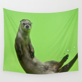 Green Otter Wall Tapestry
