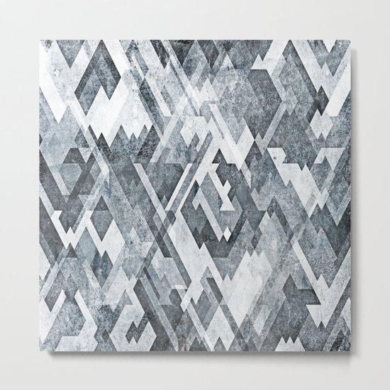 zig zag black and white Metal Print