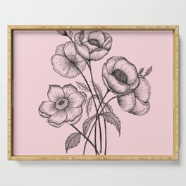 Palid Flowers  Serving Tray