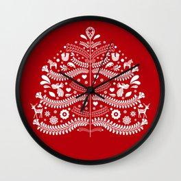Scandinavian Folk Art Christmas Tree Wall Clock