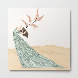 Pastel Dancer With Leafs & Feathers - Art Print/ Wall Décor / Wall Art Metal Print