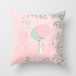 Cute flying Bunny with Balloon and Flower Rabbit Animal on pink floral background Throw Pillow