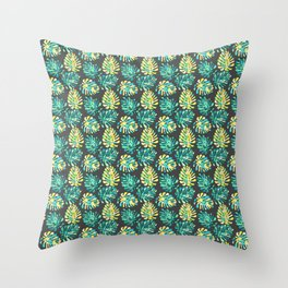 Modern green yellow tropical monster cheese leaves pattern Throw Pillow