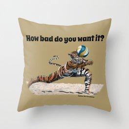 Cat Warrior Playing BeachVolleyball Sports Fantasy Art Throw Pillow