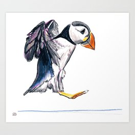 """Hop"" Puffin landing by Cassie Soehnlen of 140 North Arts Art Print"