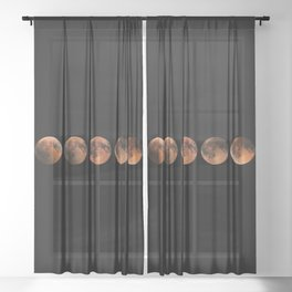 Lunar Eclipse Phases, Blood moon, Composite Lunar Eclipse Sheer Curtain