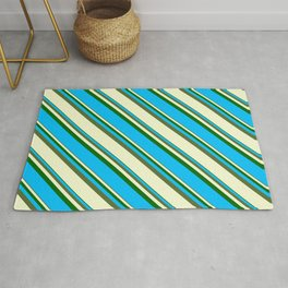 Dark Green, Deep Sky Blue, Dark Olive Green, and Light Yellow Colored Lined Pattern Rug