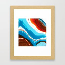 Abstract Earth, Ocean and Copper Fluid Painting Framed Art Print