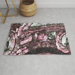 Pink Silver Black Sequin Rug