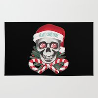 scary Area & Throw Rugs featuring Scary Christmas by JenHoney