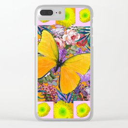 GOLDEN-YELLOW POPPIES  FLOWER BUTTERFLIES FLORAL Clear iPhone Case