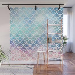 Mermaid Scales Turquoise Pink Sunset Wall Mural