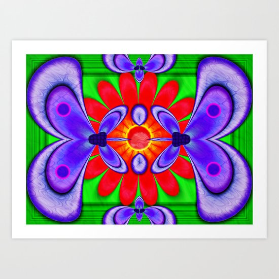 Butterfly and flower abstract. Art Print