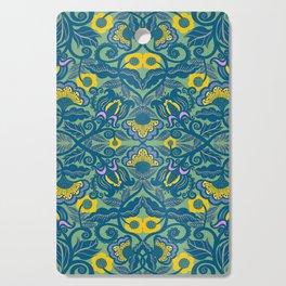 Blue Vines and Folk Art Flowers Pattern Cutting Board