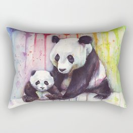 Rainbow Pandas Watercolor Mom and Baby Panda Nursery Art Rectangular Pillow