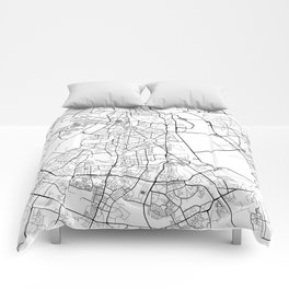 Delhi Map, India - Black and White Comforters