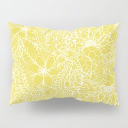 Modern trendy white floral lace hand drawn pattern on meadowlark yellow Pillow Sham