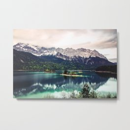 Green Blue Lake and Mountains - Eibsee, Germany Metal Print