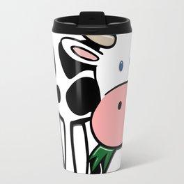 Black and White Steer Munching Grass Travel Mug