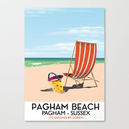 Pagham Beach West Sussex travel poster, Canvas Print