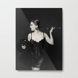 """A Noir Night Out"" - The Playful Pinup - Modern Gothic Twist on Pinup by Maxwell H. Johnson Metal Print"