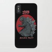 kaiju iPhone & iPod Cases featuring Gojira Kaiju Alpha by Pigboom Art