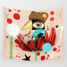 Breathing deep, add some cherry, pink color, and a chubby penguin, Stay awake. Wall Tapestry