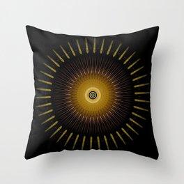 Modern Circular Abstract with Gold Mandala Throw Pillow