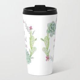 Whimsical Quote Succulent Wreath Travel Mug