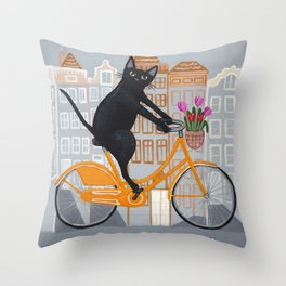 Amsterdam Bicycle Ride Throw Pillow
