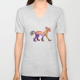 Chinese crested dog 01 in watercolor Unisex V-Neck