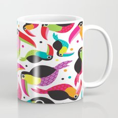 Cute colorful patchwork tucan illustration pattern Mug