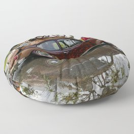 Old Beetle and its reflection  Floor Pillow