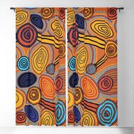 Authentic Aboriginal Art  - Skipping Stones 2 Blackout Curtain