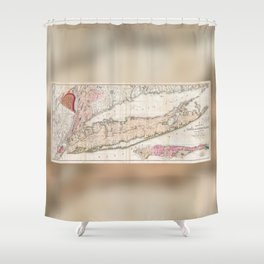 Long Island New York 1842 Mather Map Shower Curtain